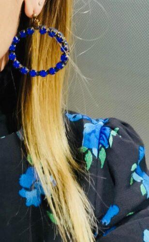 Orecchini Cerchio Strass Blu e Filo Titanio photo review